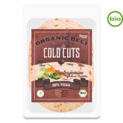 Lonchas veganas y ecológicas de fiambre como de mortadela a base de proteína de guisantes