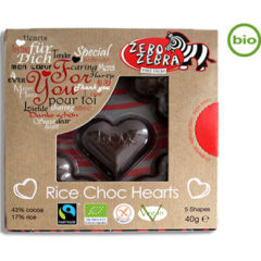 Chocolate vegano zero zebra con forma de corazón