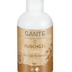 Gel de ducha vegano, no testado en animales con bio coco y vainilla natural