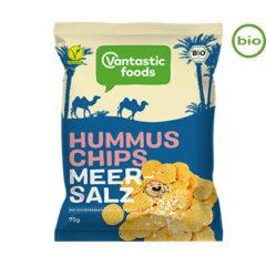Chips veganos hechos de humus y sal marina de Vantastic Foods