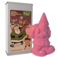 Santa Klaus de chocolate vegano rosa